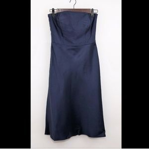 ANN TAYLOR Navy blue silk strapless mid calf dress
